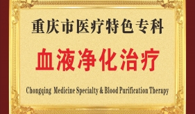 重庆市医疗特色专科血液净化治疗奖牌